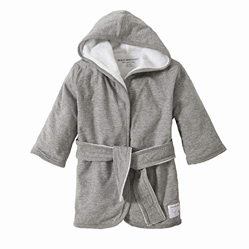 Burt's Bees Baby - Bathrobe, Infant Hooded Robe, Absorbent Knit Terry, 100% Organic Cotton, 0-9 Months (Heather Grey)