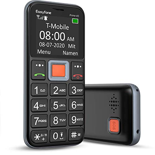 Mobiltelefon | Easyfone Prime-A5 Senioren-Handy mit großen Tasten und ohne Vertrag | Mit Notruf-Knopf und Taschenlampe und Ladestation - Schwarz