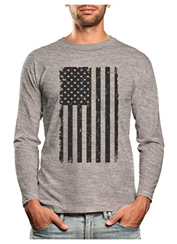 Big Black American Flag Vintage USA Flag 4th of July Long Sleeve T-Shirt Large Gray