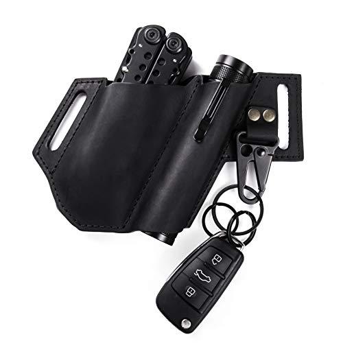 Gentlestache Multitool-Tasche aus Leder für Ledermann, Multitool-Tasche, EDC Leder Taschen-Organizer mit Schlüsselhalter für Gürtel und Taschenlampe, Farbe: Schwarz