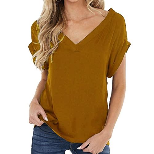 Blusa Sexy con Cuello en V para Mujer Manga con puños Camisas Casuales sólidas Camiseta Blusas y Blusas Informales con Cuello en V Camisetas Camisetas básicas Camisas Tops de Manga Corta de Ve