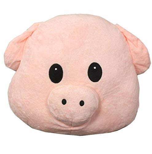 Poofy Moji Emoji Pillow Pig Piggy Super Cute Plush Toy Round Cushion Stuffed Perfect lint-free nice hand feeling soft and no odors. Also the happiest present in the world! Decoration Pillows {New}