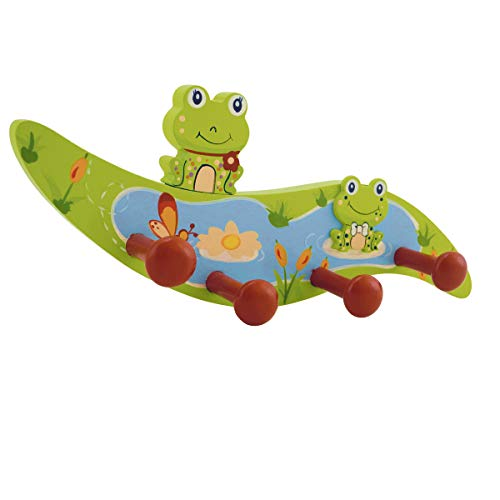 Bieco Garderobe Kinder Frosch | Kindergarderobe Holz mit Kinder Kleiderhaken | Garderoben-Leiste | Wandgarderobe | Kleiderhaken Kinder Garderoben | Garderobenleiste Kinder 26 cm 4 Haken