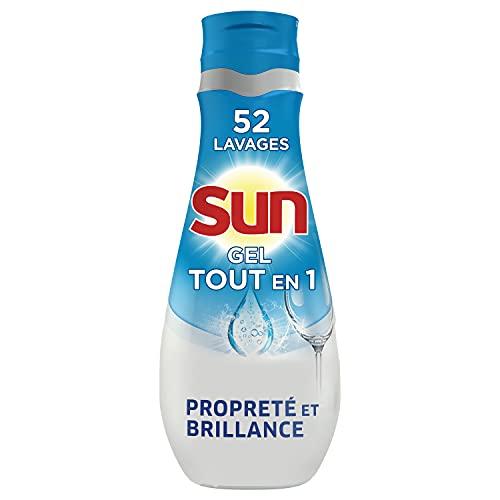 Sun Gel Lave-Vaisselle Tout En 1, Propreté et Brillance, Efficace en cycle court, 900 ml - 52 Lavages