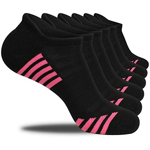Bodvera Women's Performance Ankle Athletic Running Socks Cushioned Breathable Low Cut Sports Tab Socks (3/6/12 Pairs Socks)