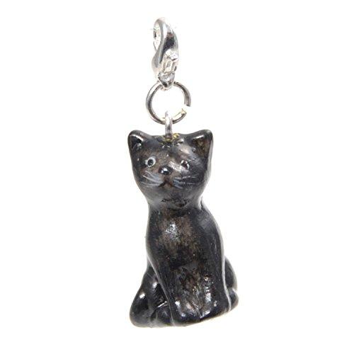 Handgefertigt aus Porzellan, Katze, mit Clip, Schwarz