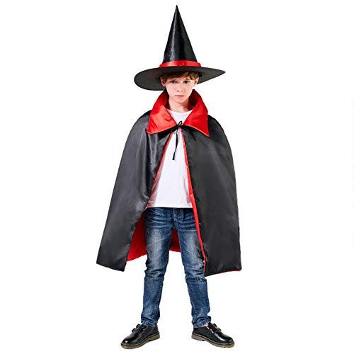Capa de disfraz para niños de Halloween con sombrero puntiagudo, disfraz de Halloween