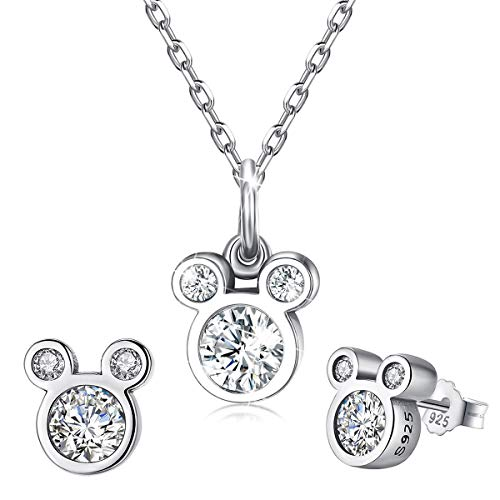 CNNIK 925 Sterling Silver Mouse Shape Stud Earrings and Necklace, Cute Mouse Jewelry Set with Sparkling Cubic Zirconia for Women Girls Birthday Gifts