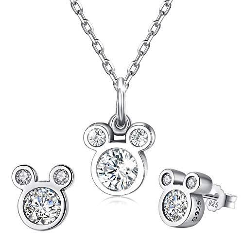 CNNIK 925 Sterling Silber Maus Form Ohrstecker und Halskette, Süßes Maus Schmuckset mit Zirkonia für Damen Mädchen, Geburtstagsgeschenke