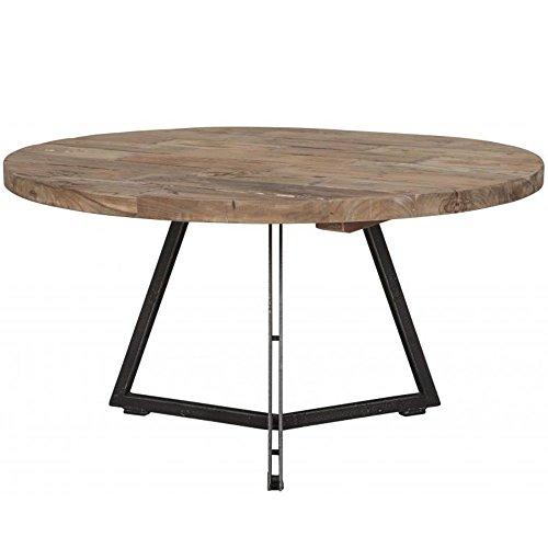 Meuble Passion Table Basse Industrielle Ronde Teck et métal recyclés ø55 à 75cm (Ø75cm)