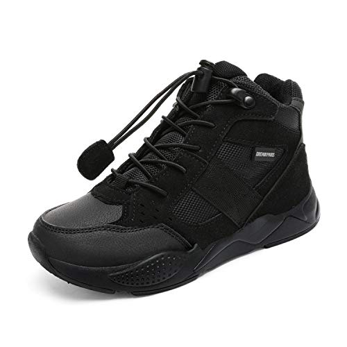 DREAM PAIRS Boys Girls High-top Sneakers Running Shoes Black Size 2 Little Kid Hl19016k