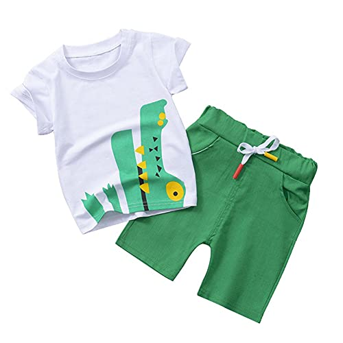 Juego de Ropa de Verano para niños pequeños niños, Manga Corta Letra de Dibujos Animados Impresos Camisetas Tops + Pantalones Cortos Trajes para bebés