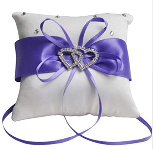 N/F ringkissen Hochzeit, Vier Farben Brautring Lager Kissen doppelt herzförmige Ehering Box Hochzeit Zubehör Dekoration liefert 10x10cm