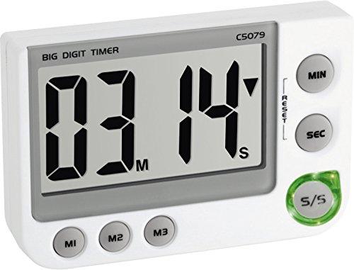 TFA Dostmann digitaler Timer und Stoppuhr, 38.2024, mit Memory Funktion, mit Magnet/Ständer/Aufhängeöse, 3 Lautstärken, weiß