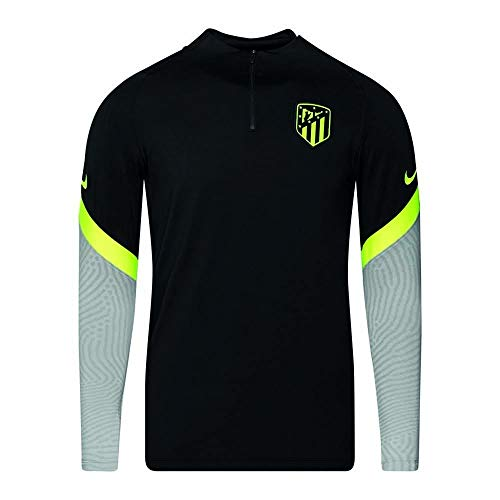 NIKE ATM M NK Dry Strk Dril Top Cl Long Sleeved t-Shirt, Hombre, Black/Wolf Grey/Volt no sponsor-3rd
