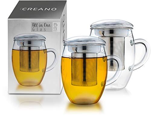 Creano Teeglas All in one 400ml 2er Set, Große Teetasse mit Edelstahlsieb und Deckel aus Glas, Teebereiter in attraktiver Geschenkverpackung (2X 400ml)