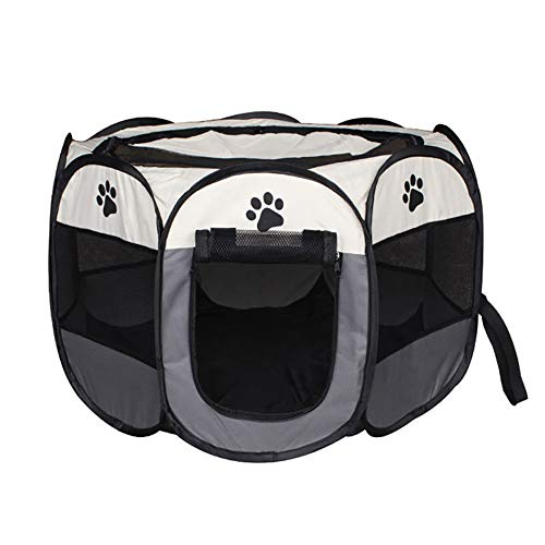 The Fellie Pet Play Pen Portable Foldable Puppy Dog Pet Cat Rabbit Guinea Pig Fabric Playpen Crate Cage Kennel Tent Grey S (74x74x43cm)