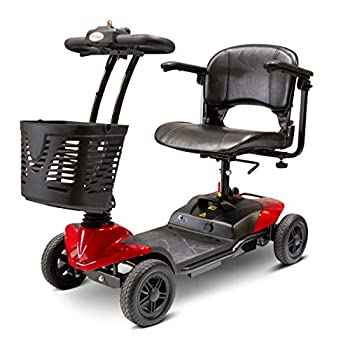 EWheels EW-M35 4-Wheel Foldable Portable Lightweight Travel Electric Battery-Powered Medical Mobility Scooter with Adjustable Seat and Basket Red