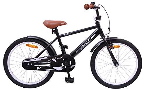 Amigo BMX Fun - Kinderfahrrad für Jungen - 20 Zoll - mit Handbremse, Rücktritt, Lenkerpolster und fahrradständer - ab 5-9 Jahre - Schwarz