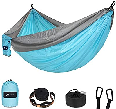 Btrwor Hammock Camping Double & Single with 2 Tree Straps?Lightweight Nylon Parachute Hammocks for 500lbs Capacity, for Outdoor,Backpacking, Backyard, Hiking (Sky Blue & Grey, 2 Person)