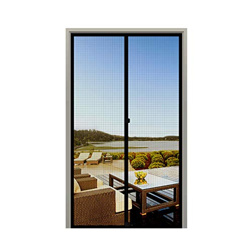 MAGZO Screen Door Magnets 38 x 82, Durable Fiberglass Door Mesh with Full Frame Hook&Loop for Entry Door Fits Door Size up to 38'x82' Max-Black