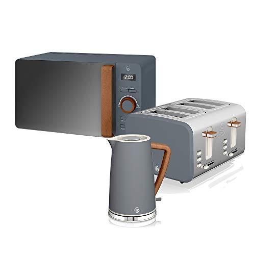 Swan Nordic Set Frühstück Wasserkocher 1,7 l 2200 W Breitschlitz-Toaster 4 Scheiben Mikrowelle 20 l Digital Design Modern Holzoptik Schiefergrau
