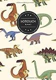Notizbuch Blanko: Notizbuch A4 Blanko (110 Seiten, Vintage Softcover, Seitenzahlen, Weißes Papier - Dickes Notizheft, Skizzenbuch, Zeichenbuch, Blankobuch, Sketchbook - Motiv: Dinosaurier Muster Bunt