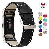 Correa de piel de repuesto Stay Active compatible con Fitbit Charge 2 | Correa de piel, para mujeres y hombres, correas de repuesto de la marca UK (negro)