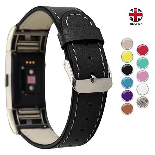 STAY Active Fitbit Charge 2 Armband aus Leder, Fitbit Charge 2 Armband für Damen und Herren, Band Fitbit Charge 2, Ersatzarmbänder von UK Marke (schwarz)