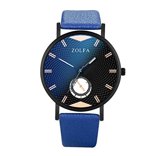 DECTN Reloj de Pulsera Relojes Hombres Elegante Minimalista Escala Romana Cinturón de Cristal Azul Reloj de Cuarzo para Hombre Erkek KOL i, Azul