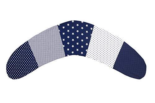 Funda para cojín de lactancia de ULLENBOOM ® estrellas azules (funda para cojines de lactancia de 190x38 cm; cojín de apoyo, almohada para dormir de lado)