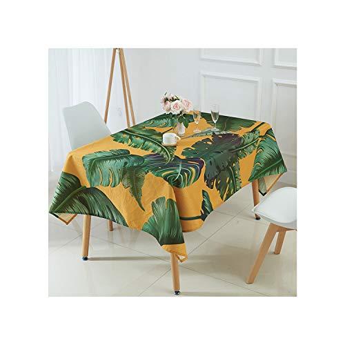 Cheryl Norri Tischdecke Tropical Banana Leaf Muster-Drucken Tischtuch Leinen Manteles para MRectangulares En Tela Tischdecke, R, 140X160Cm