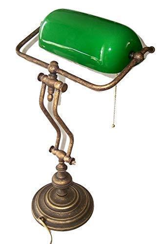 linoows Bankerlampe, Schreibtischlampe, Schwere Tisch-Lampe, Altmessing, Glas-Schirm