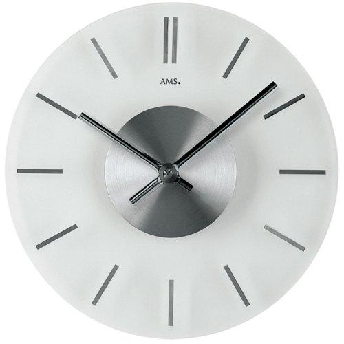 AMS 9318–Reloj de pared de cuarzo, cristal mineral con hora marcas en aluminio