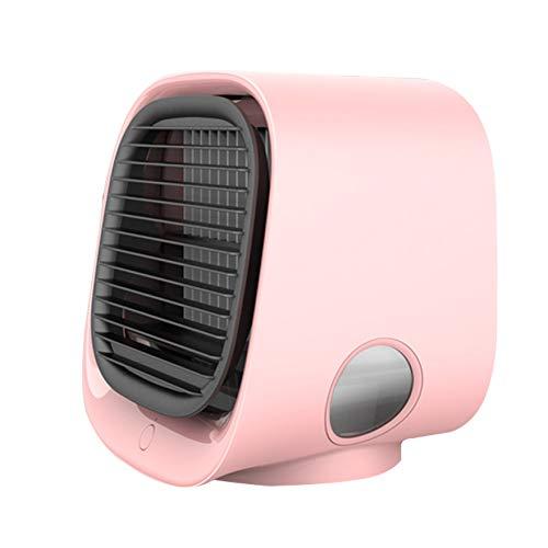 Mini Persönliche Klimaanlage, Mini-USB-Luftreiniger-Kühlung Mit Farbenfrohen Nachtlichtern und DREI Windstufen, Tragbarer Desktop-Lüfter für Das Home Office,Rosa