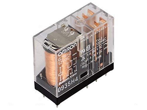 RELE 12 VDC, Kontakte 5 A/250 V, 2 Schalter, 2+6 Pin, Schritt 5,0 mm, 29 x 25 x 12 mm, OMRON G2R-2