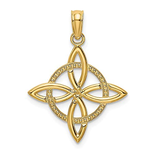 14k Yellow Gold Small Irish Claddagh Celtic Knot Eternity Pendant Charm Necklace Fine Jewelry For Women Gifts For Her