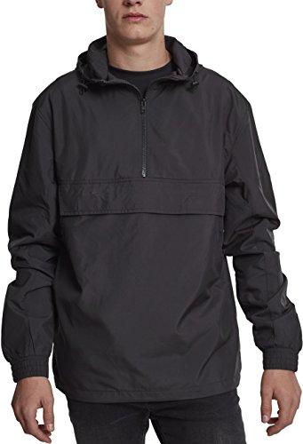 Urban Classics Herren Windbreaker Basic Pull-Over Jacket, leichte Streetwear Schlupfjacke, Überziehjacke für Frühjahr und Herbst - Farbe black, Größe 4XL