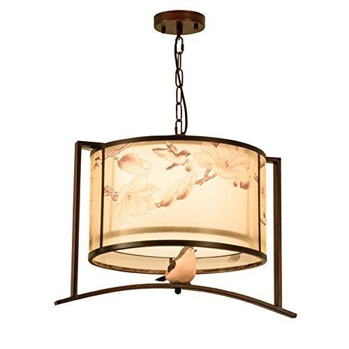 QNN Luces colgantes, lámpara de araña de hierro retro, lámpara de araña de dormitorio el estudio, lámpara de tela de impresión, lámpara de decoración clásica, la cadena es...