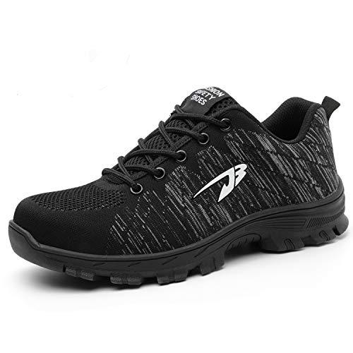 SUADEEX Damen Herren Sicherheitsschuhe Sportlich Trekking Wanderhalbschuhe Stahlkappe Arbeitsschuhe Hiking Schuhe Traillaufschuhe, 05-schwarz, 39 EU