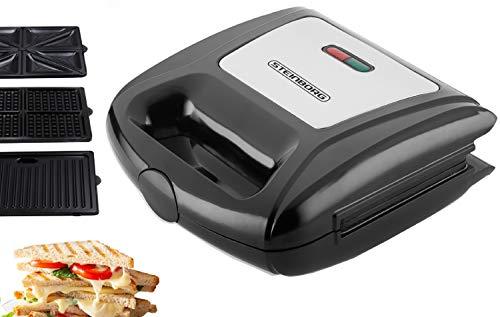 3in1 Waffeleisen | Sandwichmaker | Elektrogrill | Sandwichtoaster | Kontaktgrill | Paninigrill | Waffeltoaster | 3 Auswechselbare Platten | Sandwich Maker | Panini Grill | Grill