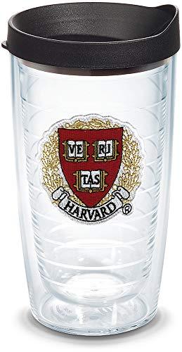 Tervis Copo com logotipo Harvard Crimson com emblema e tampa preta, 473 ml, transparente