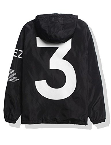 Bifast Boys Yeezy 3 Windbreaker Lightweight Rain Jacket Outdoor Sport Windbreaker Black XL