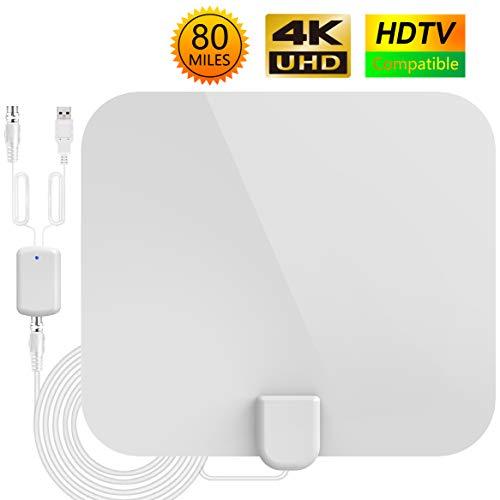 Antena TV Interior,Antena de TV HD,Antena de TV Portátil con Rango Amplificado de 80millas(128km), 4M de Cables de Alto Rendimiento-Blanca