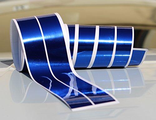 Chrom Hologramm Zierstreifen Folie Klebefolie Aufkleber Dekorstreifen KX010 (Chrom Blau, 4Meter x 30mm)