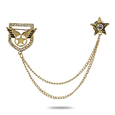 YouBella Jewellery Latest Crystal Unisex Brooch Party for Women/Girls/Men (Silver)