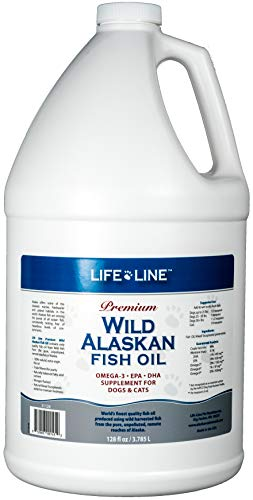 Life Line Pet Nutrition Wild Alaskan Fish Oil Omega-3 Supplement for Skin & Coat – Supports Brain, Eye & Heart Health in Dogs & Cats, 128oz