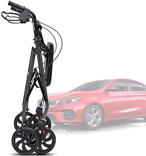 2 en 1 Walker Portable Silver Rollator, altura ajustable plegable con ruedas grandes y reposapiés, para personas mayores, silla de ruedas del carrito de compras