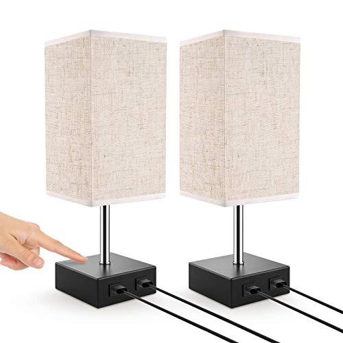 Lampada da Tavolo Touch, Lovebay Lampada Camera da Letto Notturna Con 2 Porte USB, 3 Livelli di...