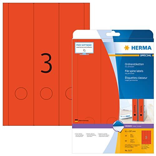 HERMA 5137 Ordnerrücken Etiketten DIN A4 breit/lang (61 x 297 mm, 20 Blatt, Papier, matt) selbstklebend, bedruckbar, permanent haftende Ordneretiketten, 60 Rückenschilder, rot